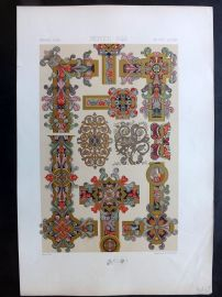 Racinet L'Ornament Polychrome 1873 Design Print. Middle Ages 42